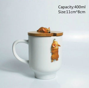 Ceramic 3D Corgi French Bulldog Coffee Mug with Lid and Spoon