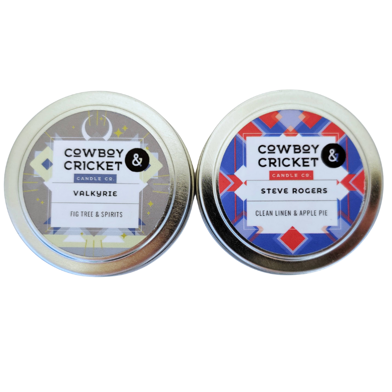 Marvel Candle Duo - Steve Rogers (Clean Linen & Apple Pie) & Valkyrie (Fig Tree & Spirits) - Marvel's Avengers Inspired