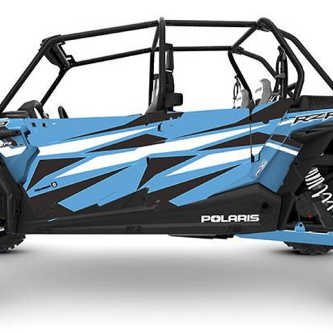 2019 Rzr Xp4 Stealth Door Graphic - Sky Blue & Ride Command