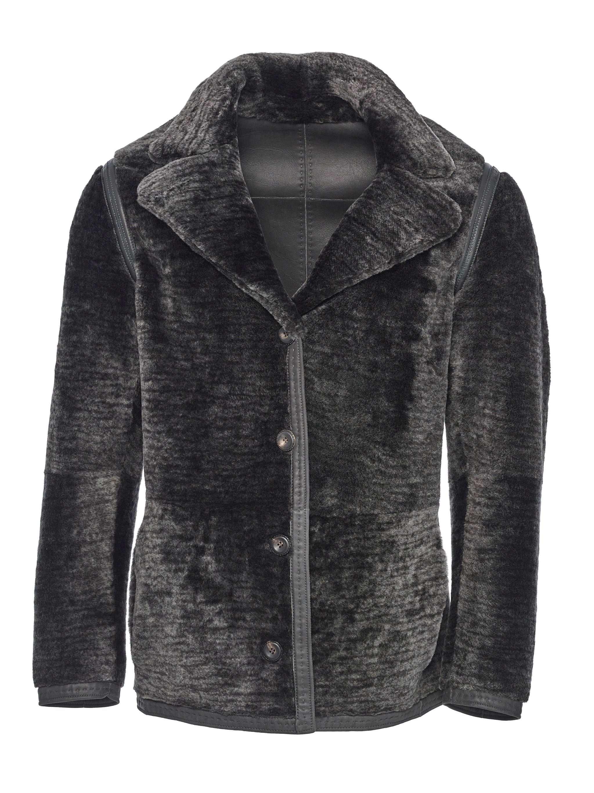 Reversible Spanish Lancon shearling with 4-artery track stitched nappa seams and horn buttons