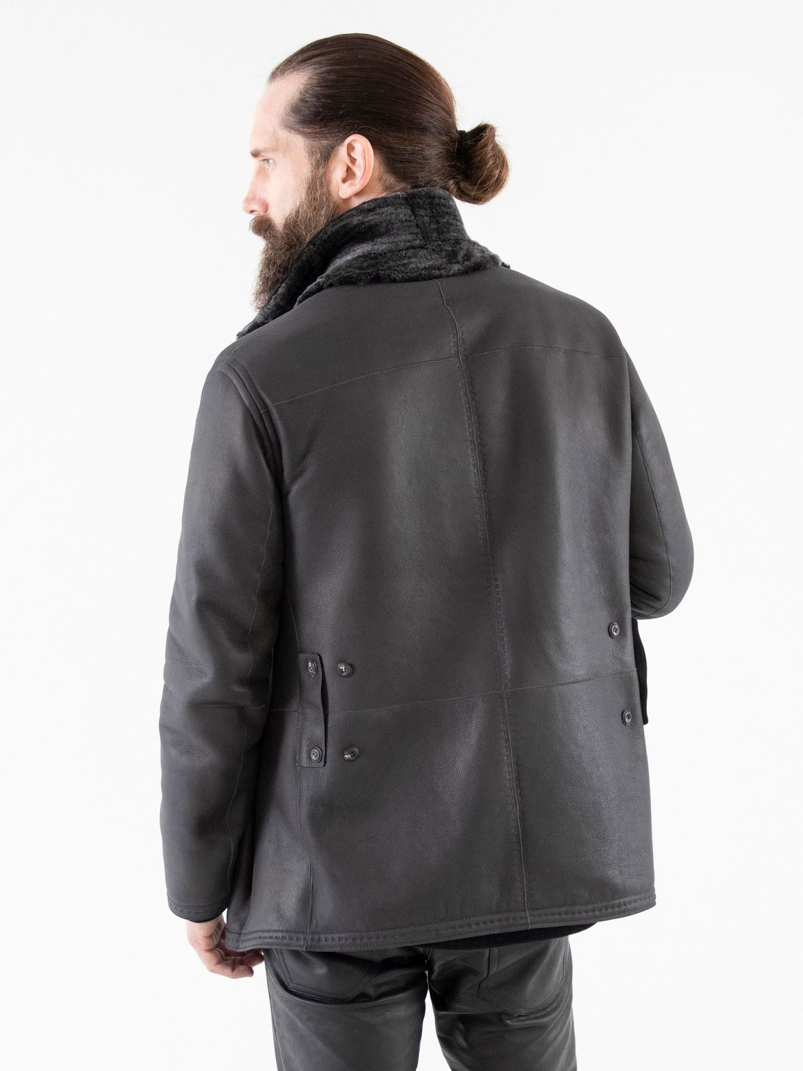 Nappa side of reversible shearling depicting relaxed latch