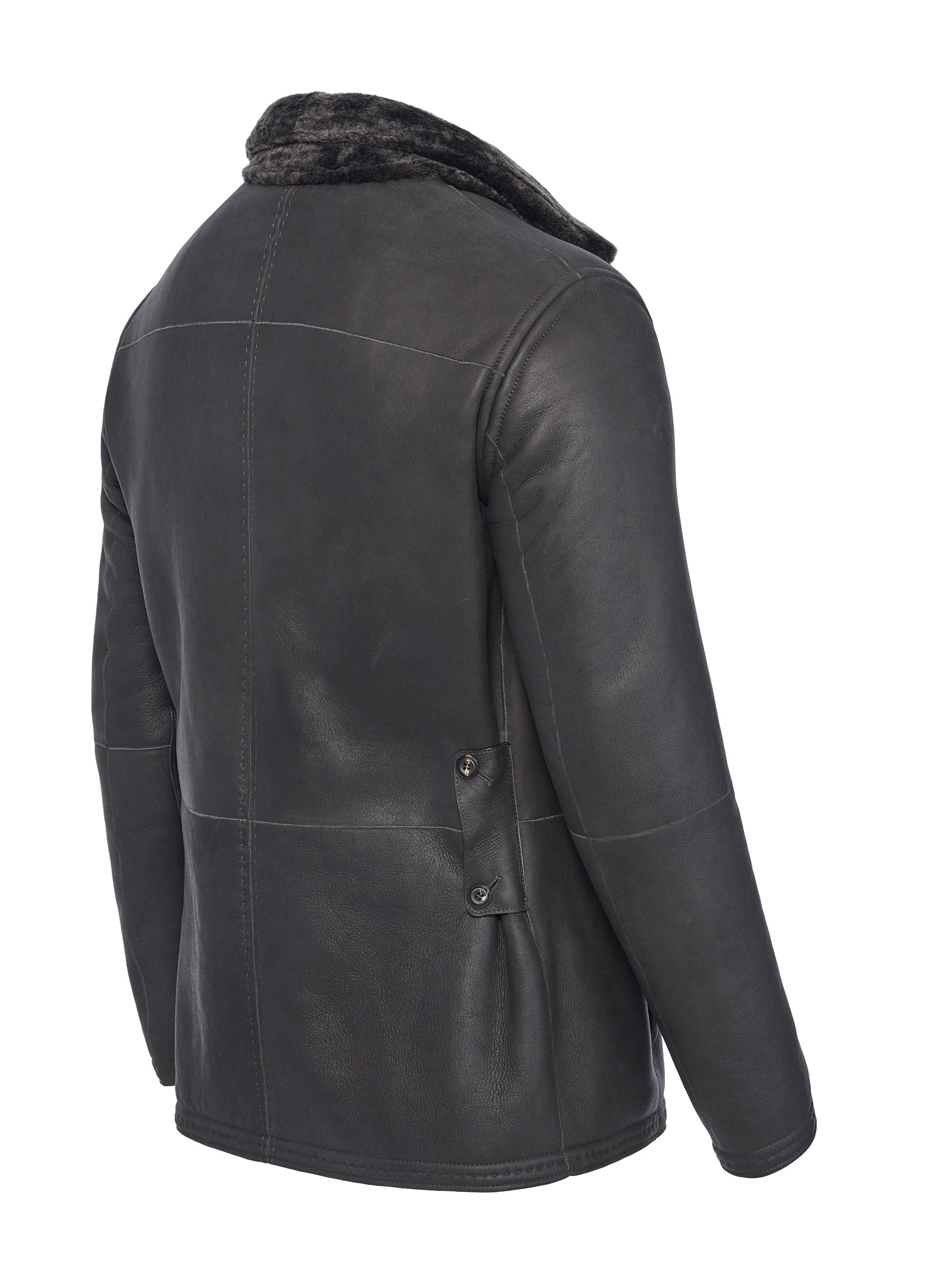 Nappa side view of reversible shearling