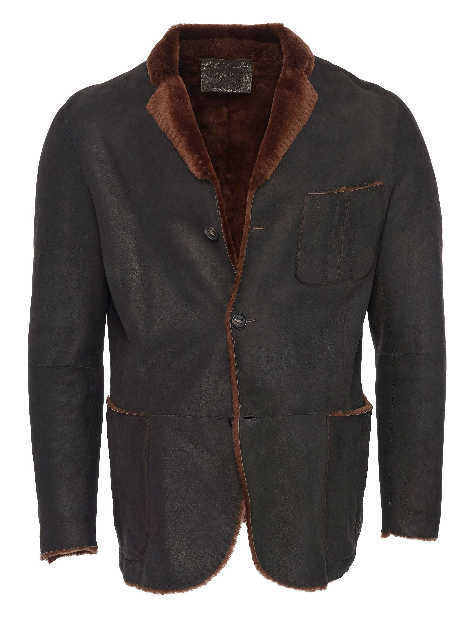 Spanish Lancon featherweight shearling blazer with raw cut seams - double back vents - breast pocket and horn buttons
