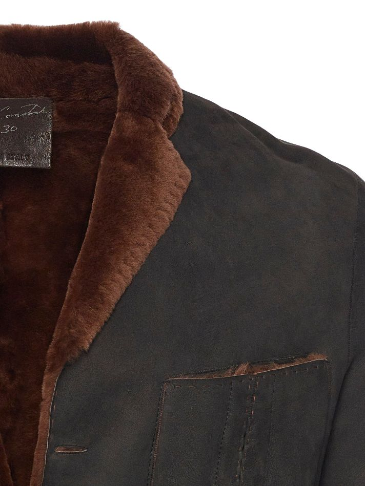 Raw cut Spanish Lancon featherweight shearling blazer with pick stitching on all seams