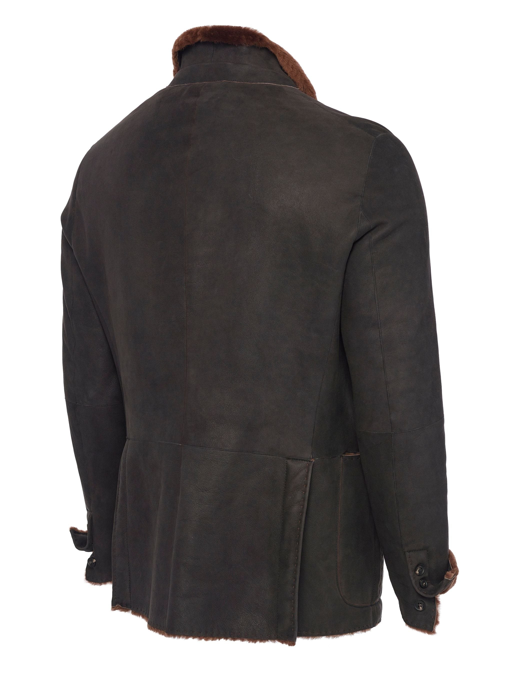 Side view Spanish Lancon featherweight shearling with functioning surgeon cuffs and double back vents