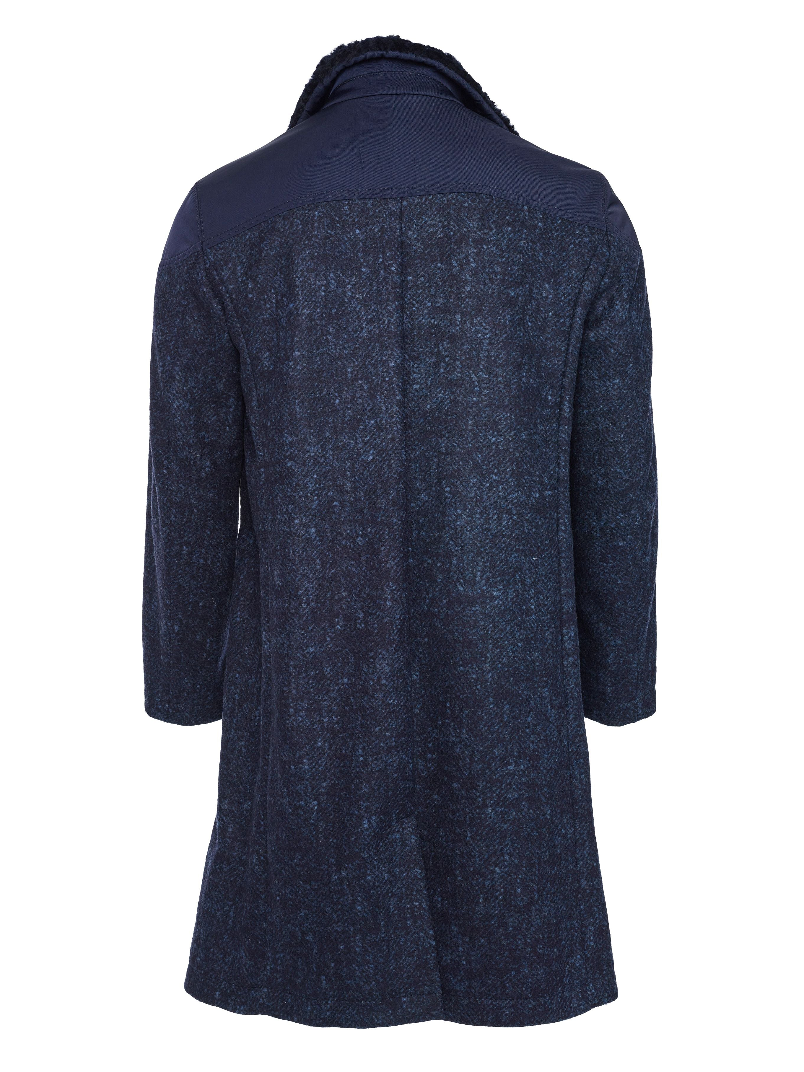 Back side baby alpaca body with Spanish shearling collar and high impact nylon shoulders