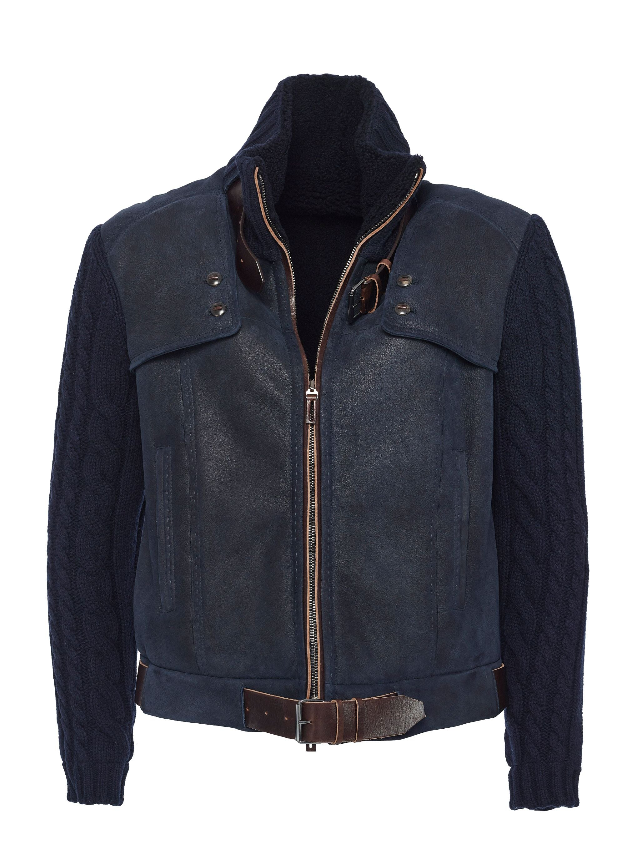 Spanish lamb shearling with cashmere cable knit sleeves and top grain belting leather