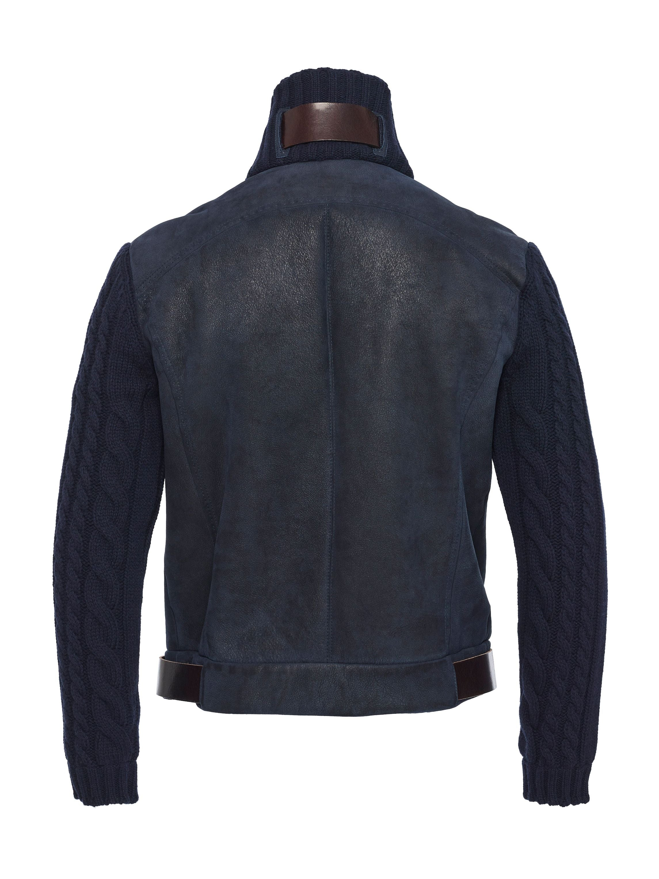 Back side Spanish lamb shearling with cashmere cable knit collar and sleeves with top grain belting leather