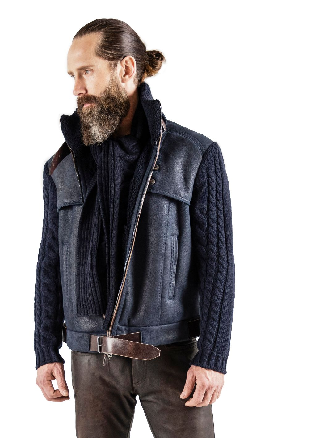 Spanish shearling with sleeves of pure cashmere