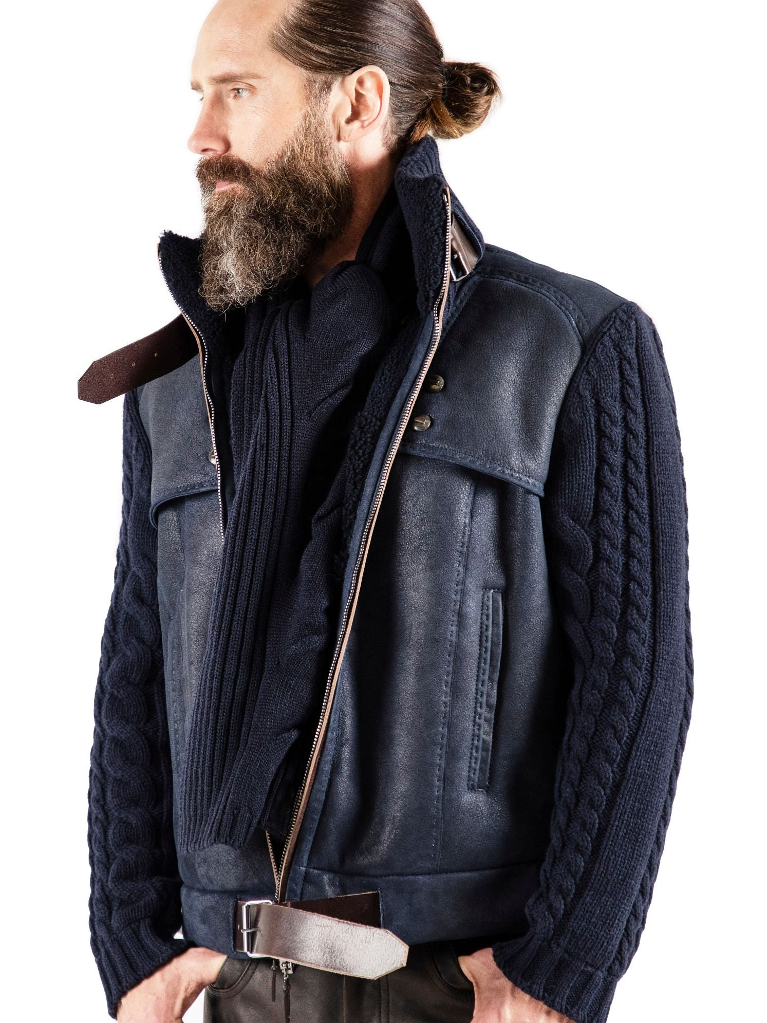 A one-of-a-kind blending of Spanish shearling with pure cashmere cable knit sleeves