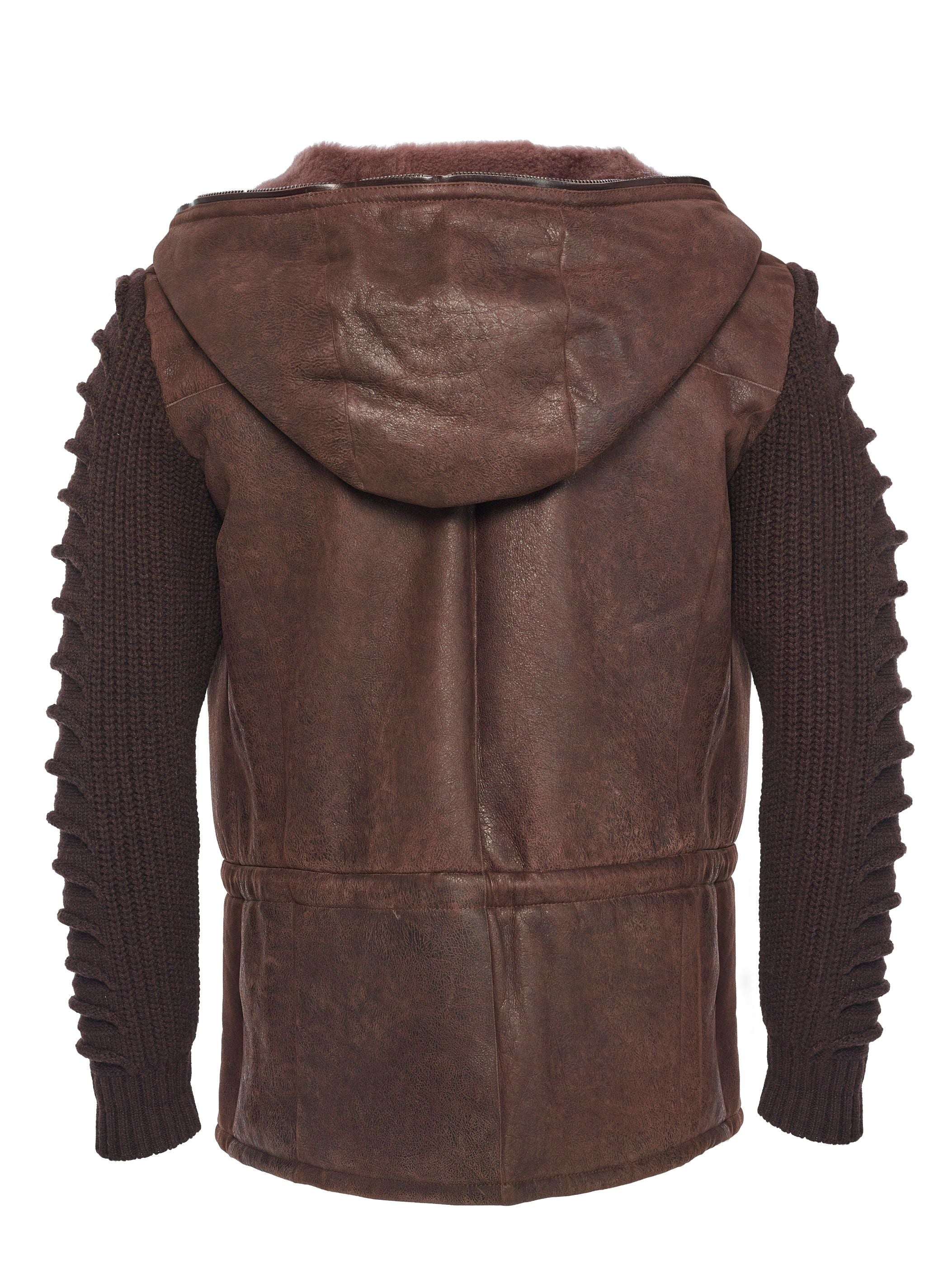Back side ultra-light weight Spanish shearling with cashmere louvered-knit sleeves