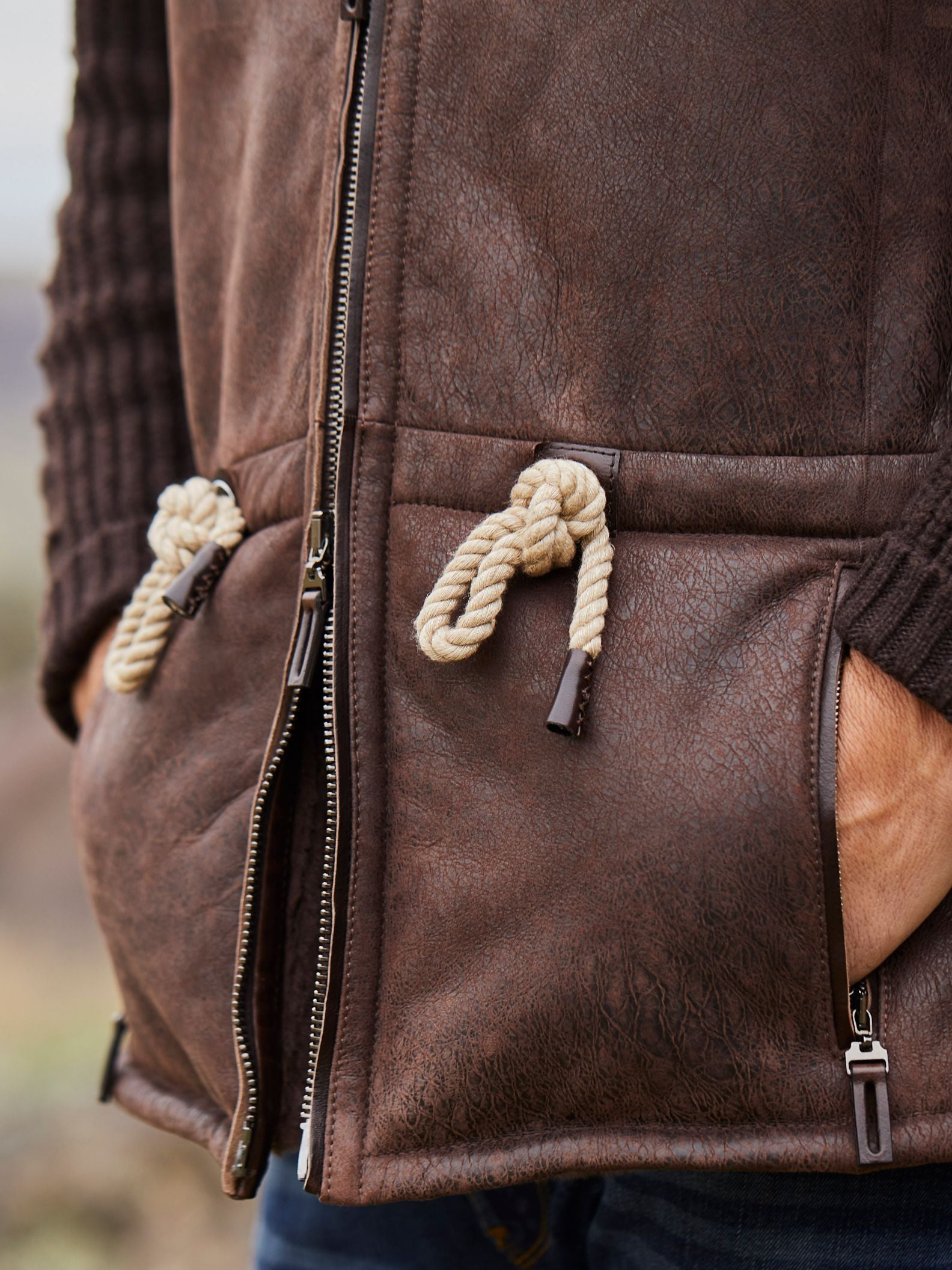 Nautical knots complete the antiqued rope pulls