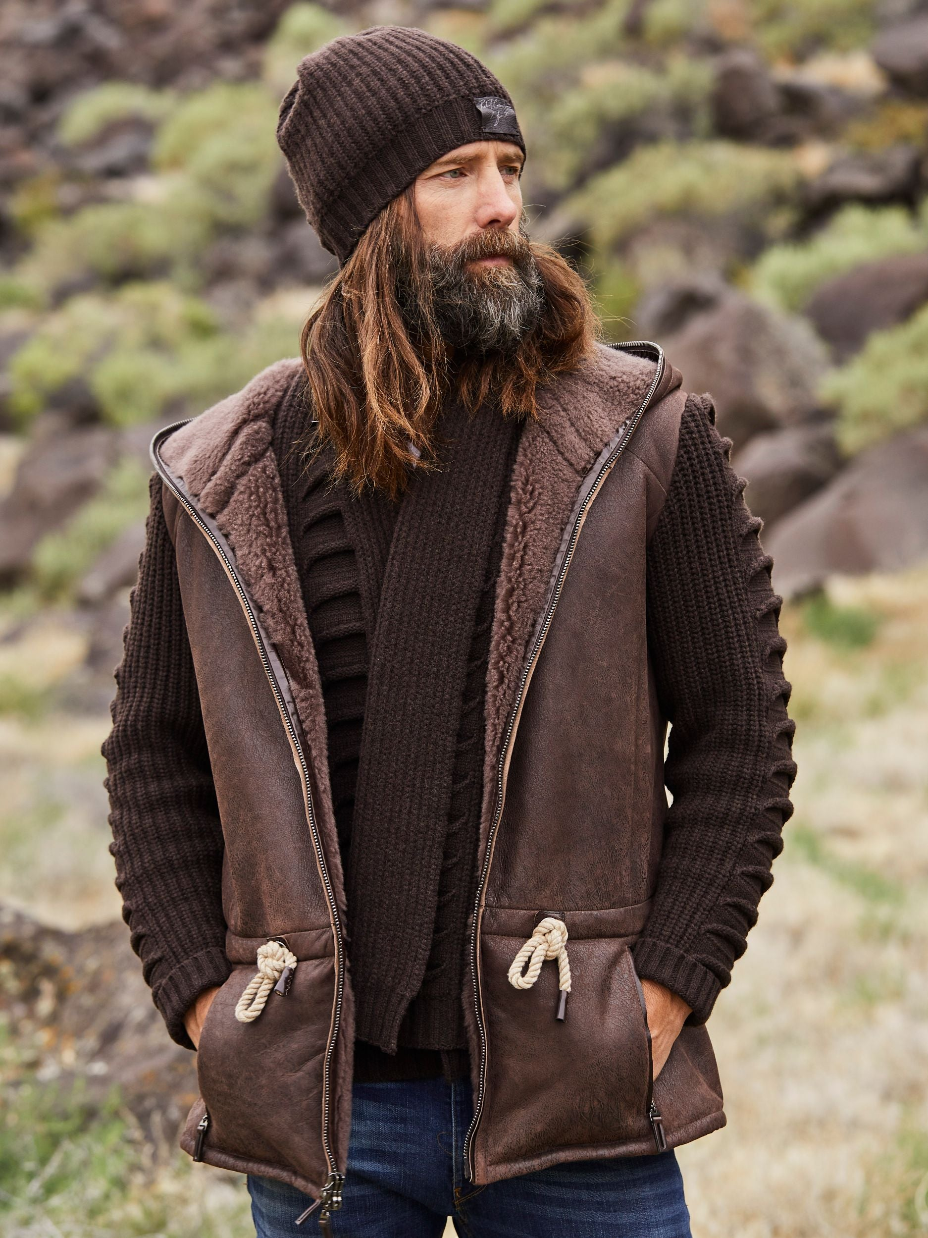 A harmonious melding of mélange cashmere sleeves emanating from an Italian shearling of impossible softness