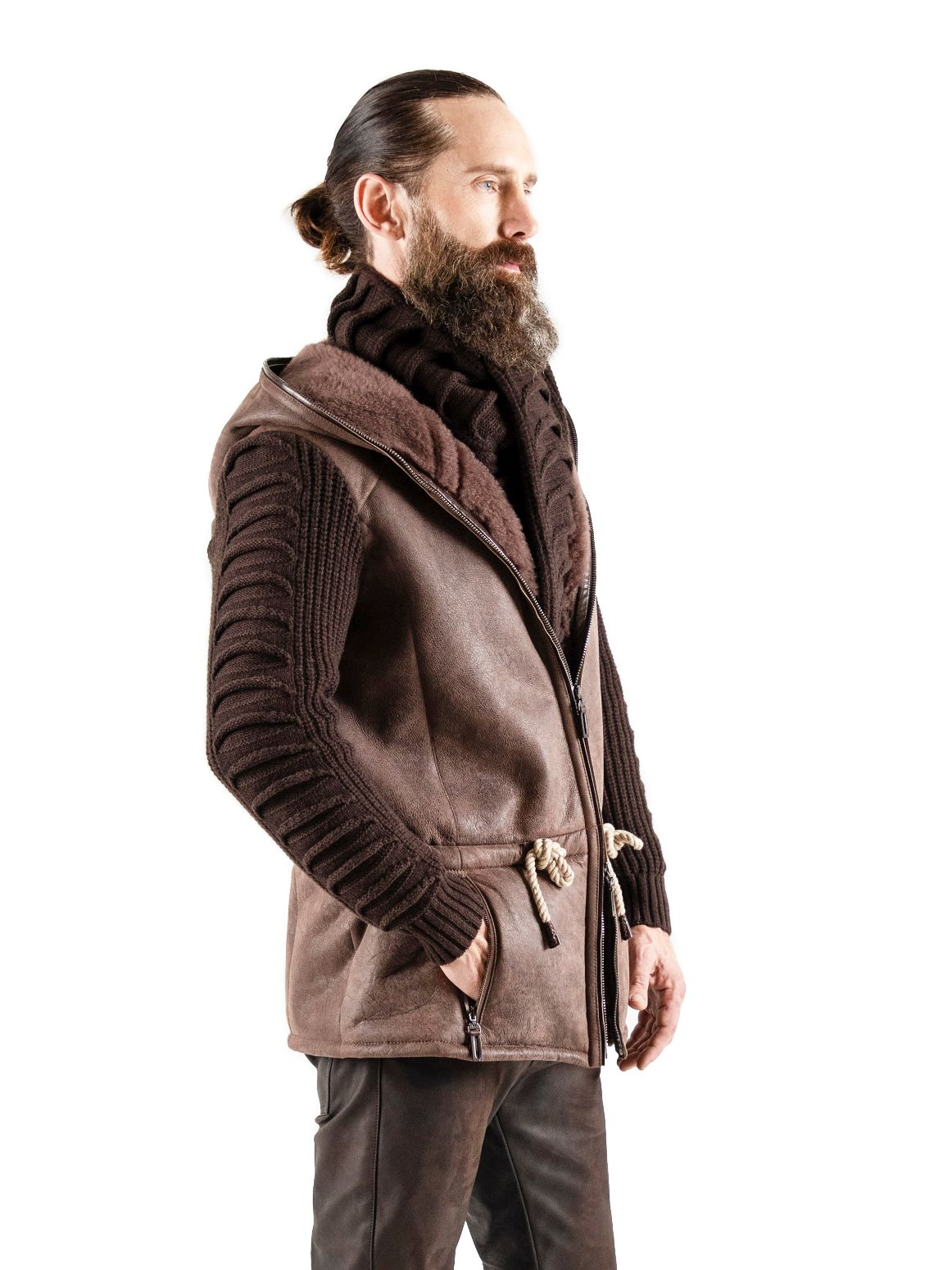 Ultra-light weight Spanish lamb shearling with cashmere louver-knit