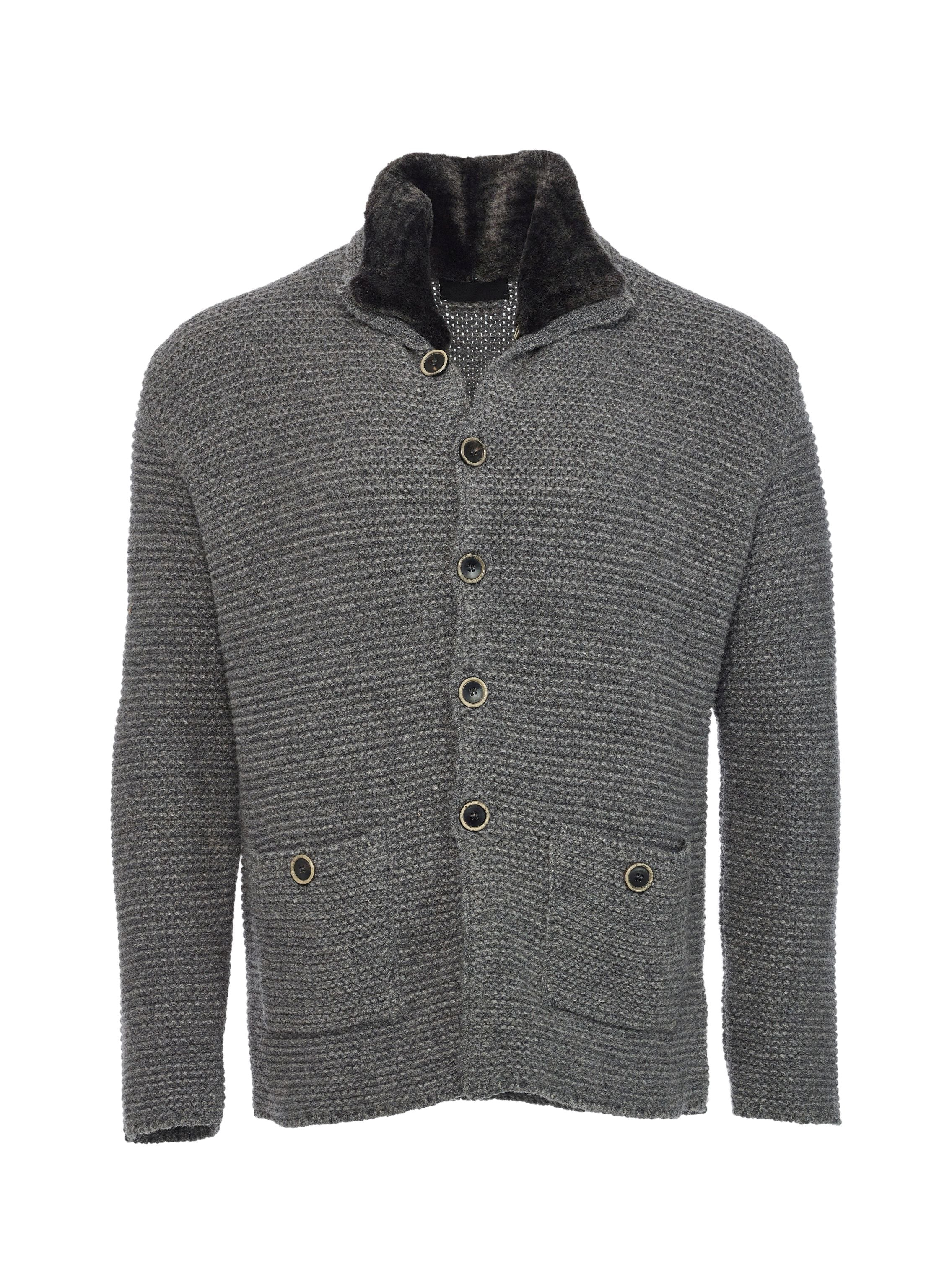 Three-gauge cashmere cardigan with detachable Spanish merino lamb collar and horn buttons