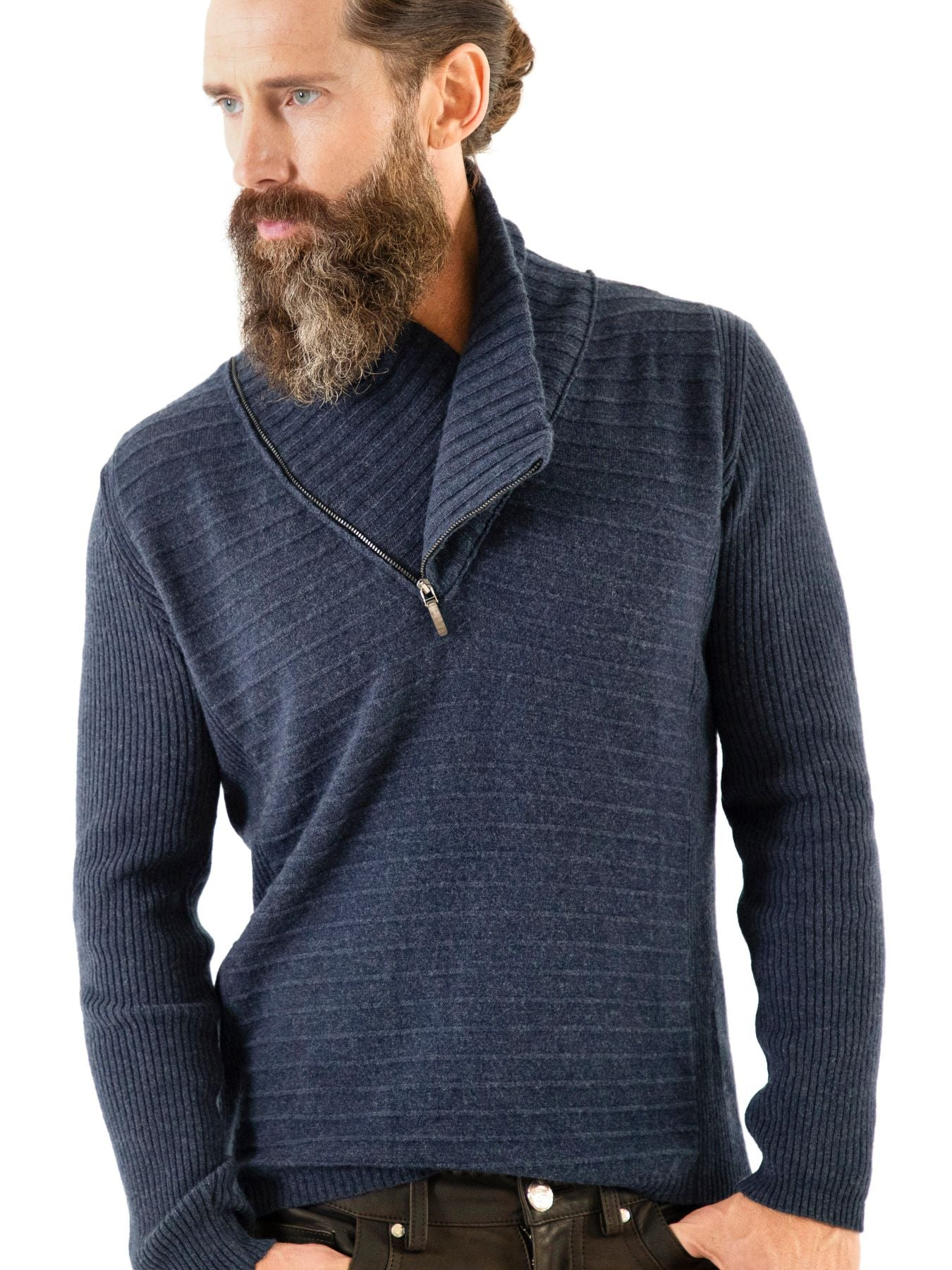 Relaxed front twelve-gauge cashmere 3-pattern sweater