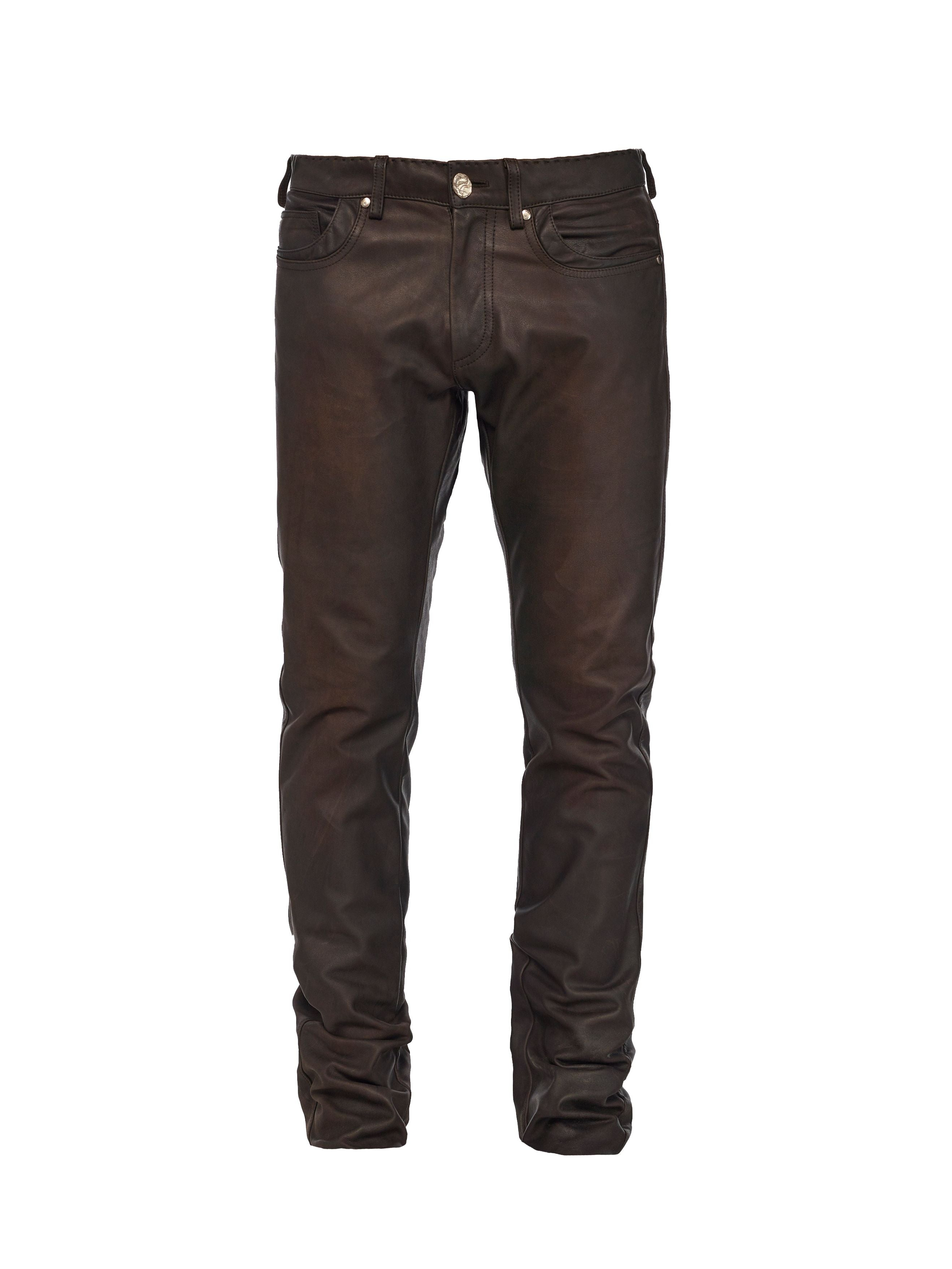 Vegetable-dyed Italian calf 5-pocket jean with pick stitching and no cut line at the knee