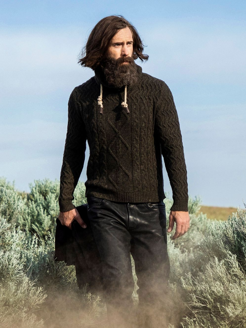 Cashmere diamond pattern with funnel neck and antiqued rope tied in an oysterman's knot