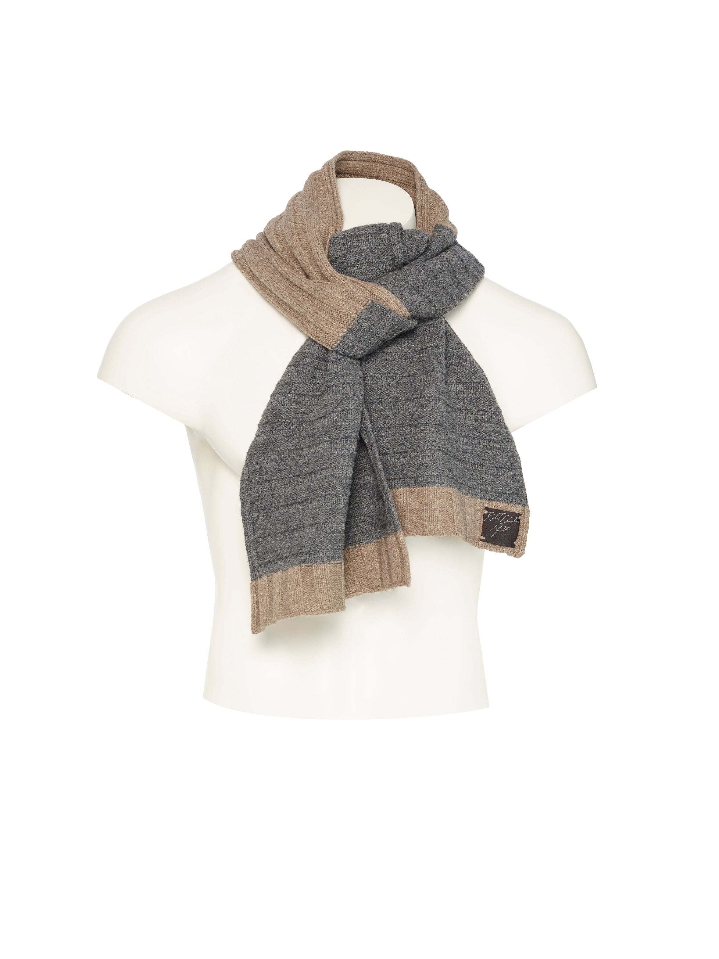 Hand signed and numbered Baby Camel scarf with alternating wheat colored horizontal flat stitch and grey slate with raised vertical stitches