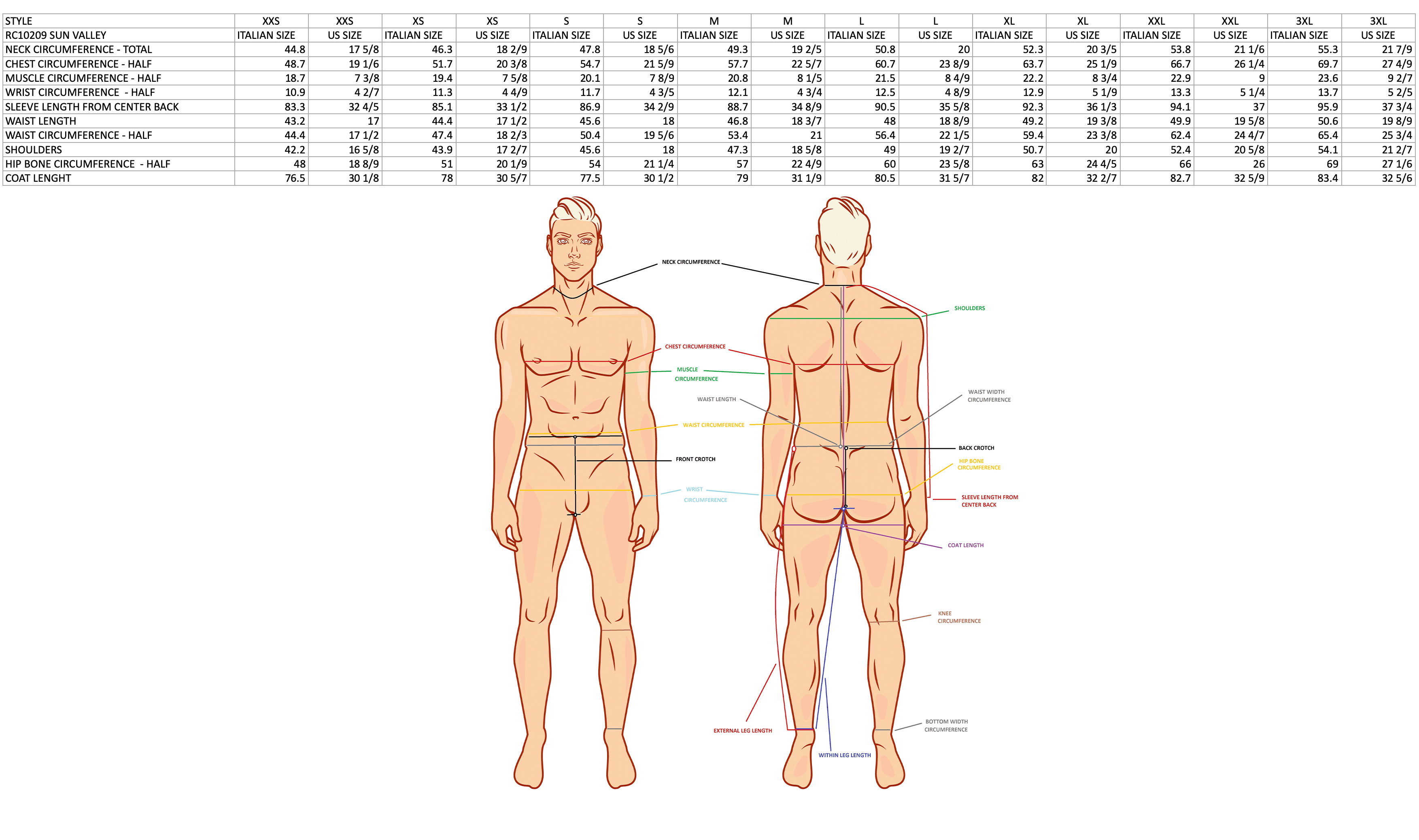 product sizing chart