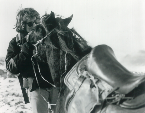 Robert Comstock with horse in Mongolia 1999