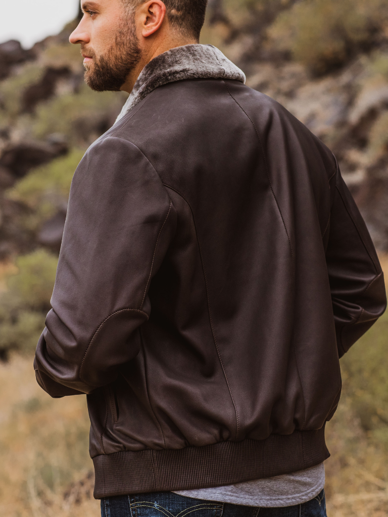 The Trident's inset elbow patches, elasticized lamb nappa cuffs and waistband are unlike any other jacket