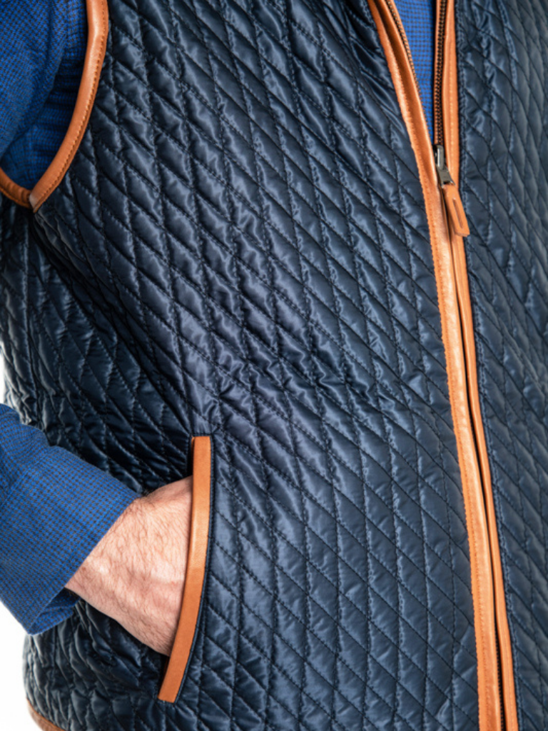 The reversed side of the Woodsman is composed of water-resistant poly/nylon in brilliant cobalt blue. Either side is a standalone garment in and of itself.