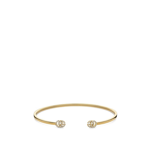 Gucci GG Running Yellow Gold Cuff with Diamonds - YBA481662001017 - CH Premier Jewelers