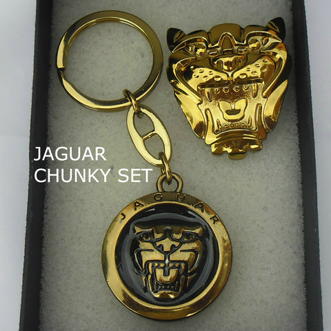 Jaguar Growler Keyring Gift Set Gold Chunky