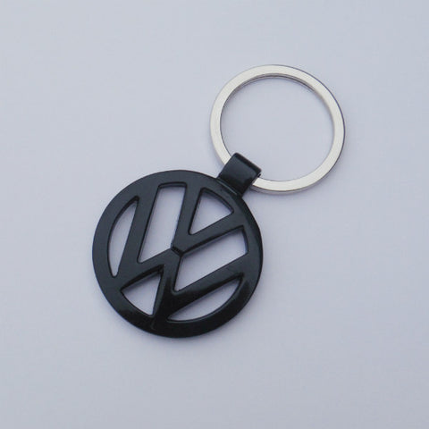 VW Volkswagen Black Keychain Chrome Ring