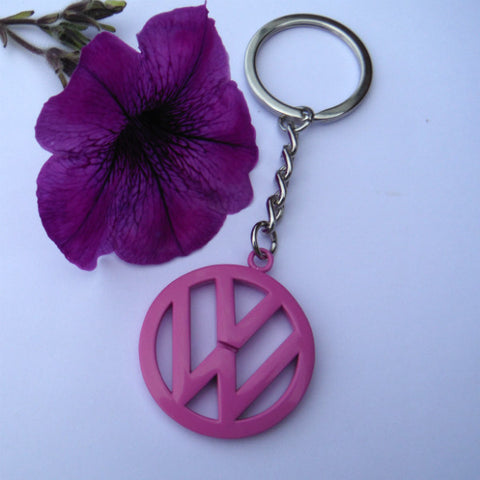 VW Campervan Beetle Pink Key Ring Keychain