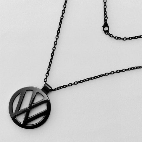 VW Volkswagen Black Logo Pendant Necklace