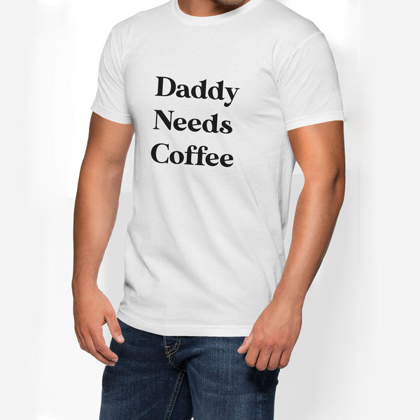 Mens Daddy Needs Coffee Jersey Tee
