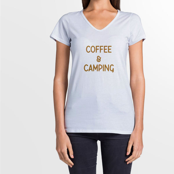 Women's Fitted Coffee and Camping Tee
