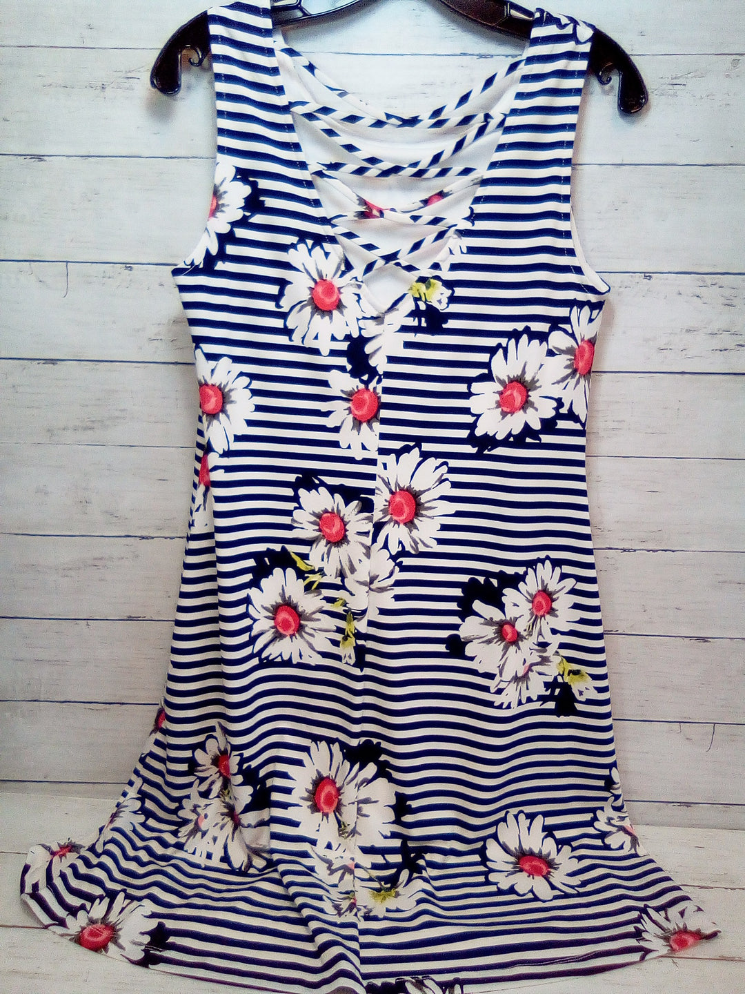 Photo #1 - BRAND: RONNIE NICOLE <BR>STYLE: DRESS SHORT SLEEVELESS <BR>COLOR: STRIPED <BR>SIZE: M <BR>OTHER INFO: BLUE/WHITE W/FLOWERS <BR>SKU: 216-21638-66078