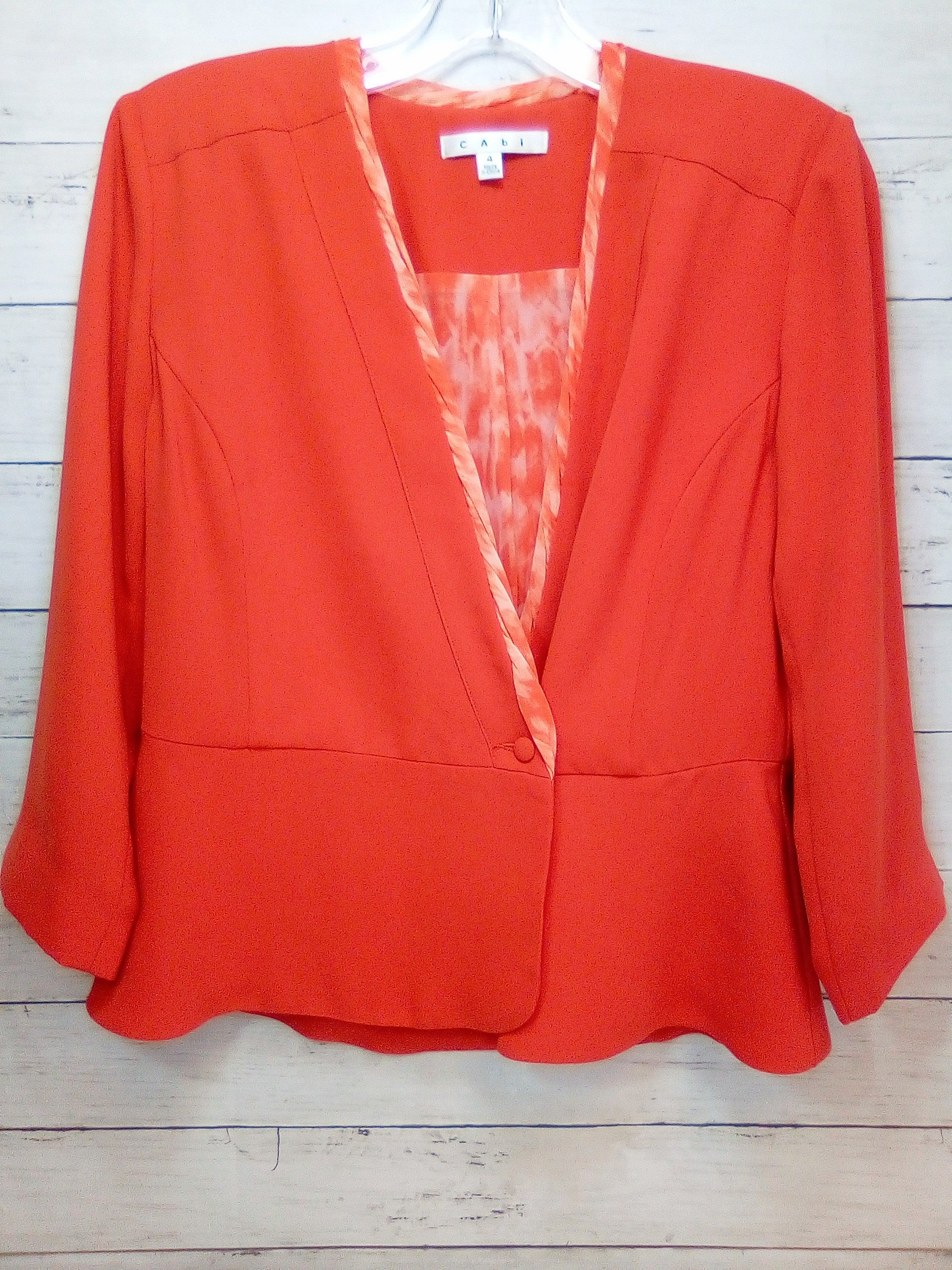 Primary Photo - BRAND: CABI <BR>STYLE: BLAZER JACKET <BR>COLOR: ORANGE <BR>SIZE: S <BR>SKU: 216-21644-14938