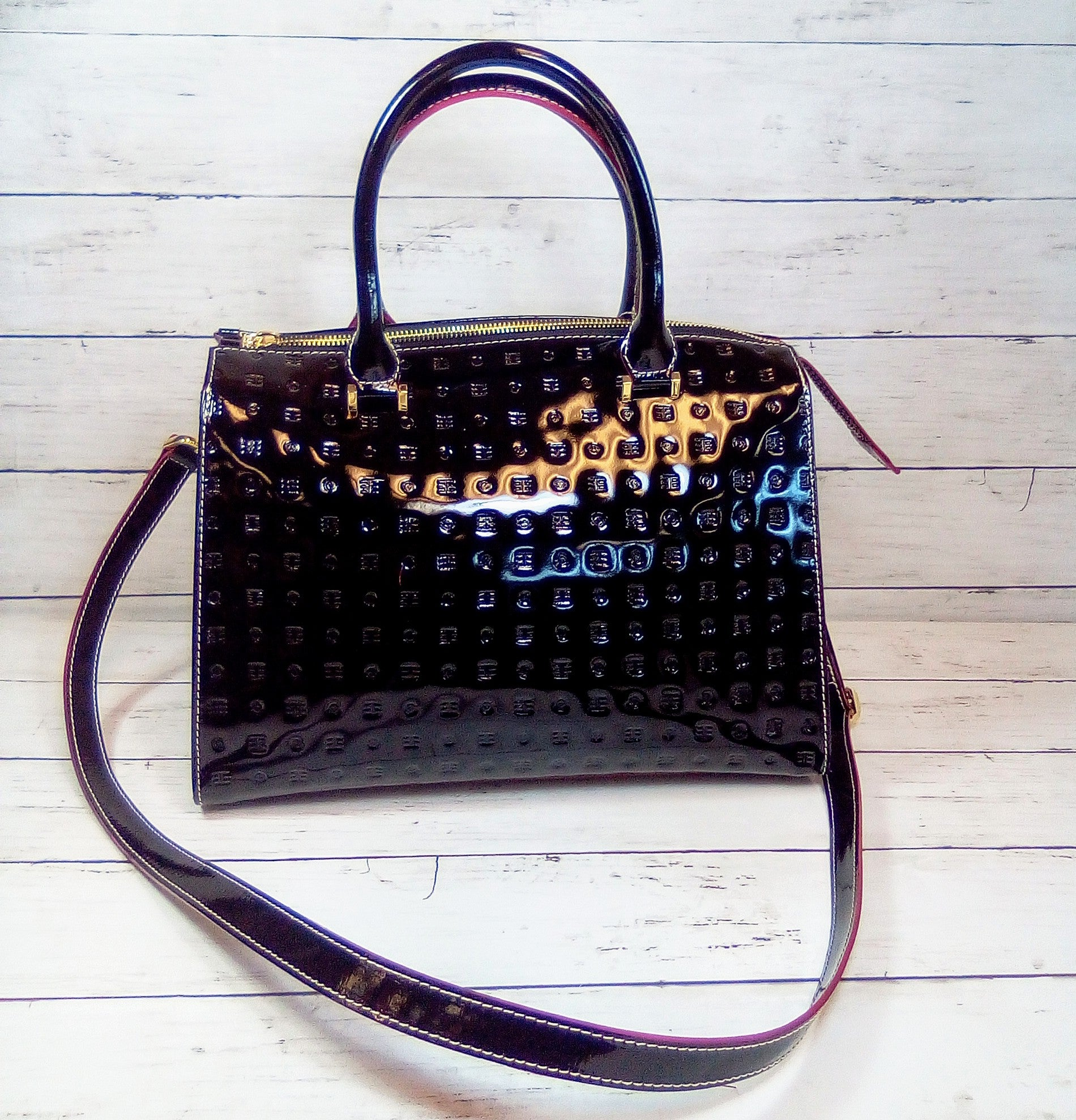Primary Photo - BRAND: ARCADIA<BR>STYLE: HANDBAG LEATHER <BR>COLOR: BLACK <BR>SIZE: LARGE <BR>OTHER INFO: ARCADIA - CLIZIA PATENT W/SNAKESKIN <BR>SKU: 216-21644-14891