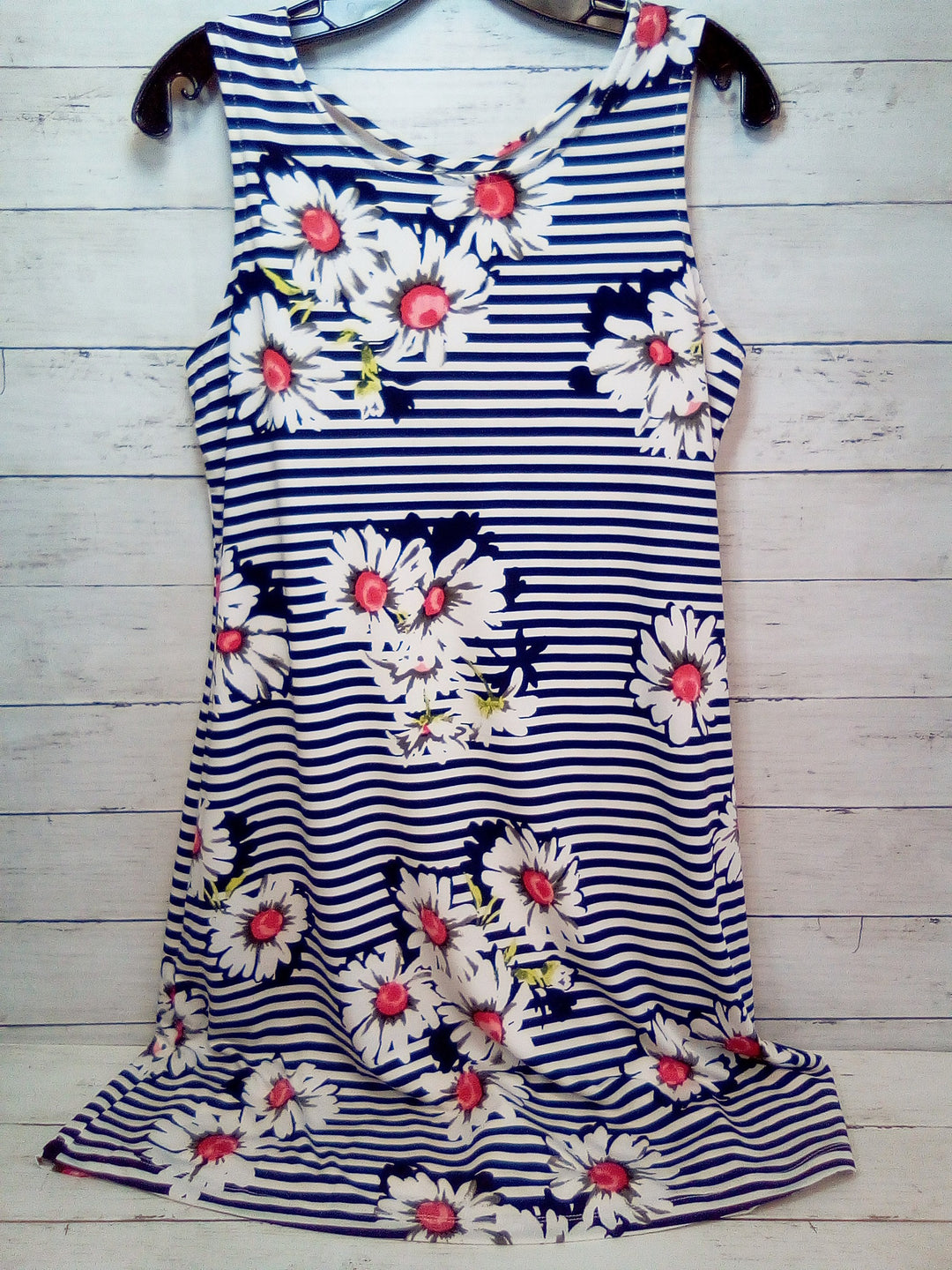 Primary Photo - BRAND: RONNIE NICOLE <BR>STYLE: DRESS SHORT SLEEVELESS <BR>COLOR: STRIPED <BR>SIZE: M <BR>OTHER INFO: BLUE/WHITE W/FLOWERS <BR>SKU: 216-21638-66078