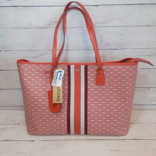 Primary Photo - BRAND: TORY BURCH STYLE: HANDBAG DESIGNER COLOR: ORANGE SIZE: LARGE OTHER INFO: GEMINI LINK CANVAS TOP ZIP TOTE SKU: 216-21638-66456