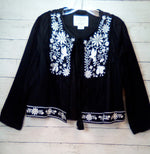 Primary Photo - BRAND: KATE SPADE <BR>STYLE: BLAZER JACKET <BR>COLOR: BLACK WHITE <BR>SIZE: M <BR>OTHER INFO: BROOMES STREET EMBROIDERED <BR>SKU: 216-21638-63625