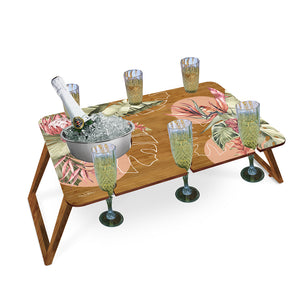 Lisa Pollock Rectangle Bamboo Wine Picnic Table