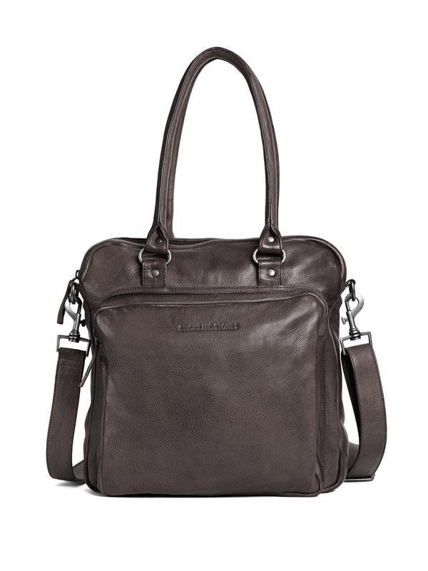 Sticks and Stones - Lederhandtasche Antigua - Dark Taupe