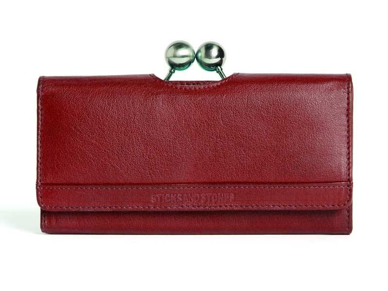 Sticks and Stones -  Lederbörse Berlin Wallet - BW - Cherry Red