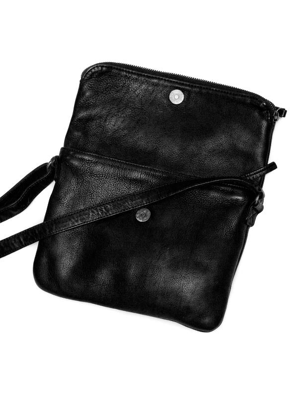 Sticks and Stones - Ledertasche Rosebery - Black Aufgeklappt