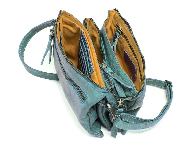Sticks and Stones - Ledertasche Bonito Bag - Aquamarine Innenansicht