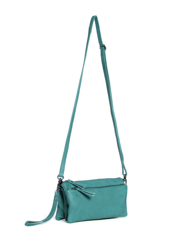 Sticks and Stones - Ledertasche Bonito Bag - Aquamarine Seitenansicht