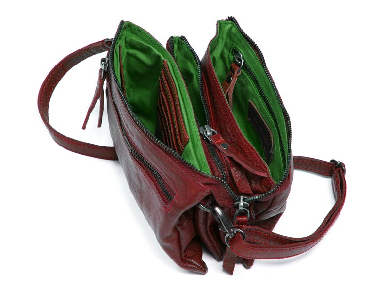 Sticks and Stones - Ledertasche Bonito - Cherry Red Innenansicht