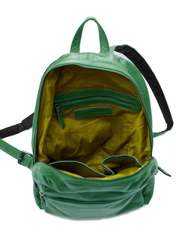 Sticks and Stones - Lederrucksack Brooklyn - Cactus Green Innenansicht