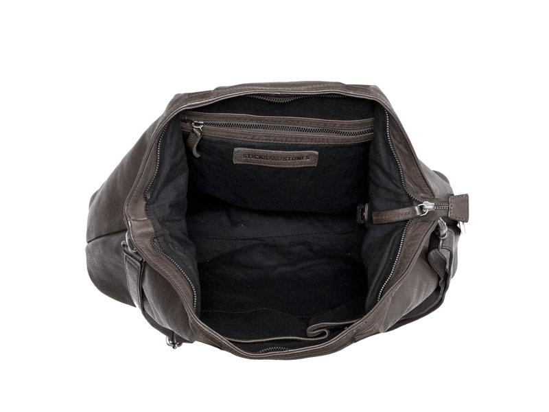 Sticks and Stones - Ledertasche Charleston - Dark Taupe Innenansicht