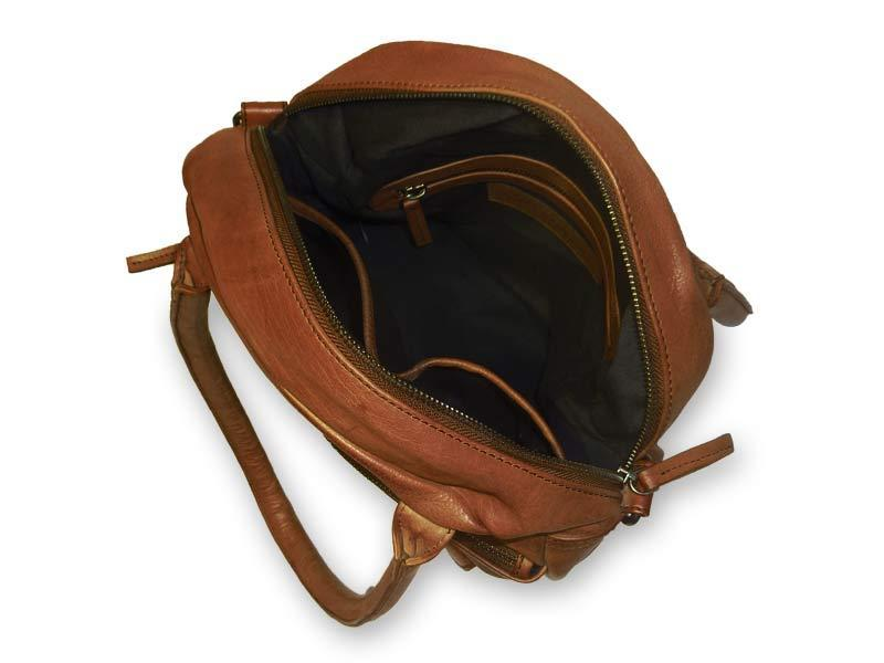 Sticks and Stones - Lederhandtasche Colorado Bag - Cognac Innenansicht